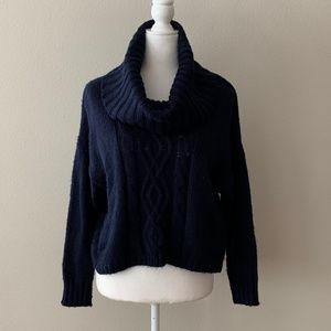 Kaisely Navy Cowl Neck Cable Knit Cropped Sweater